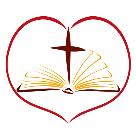 An open book, a cross and a heart, scriptures, and Gods love