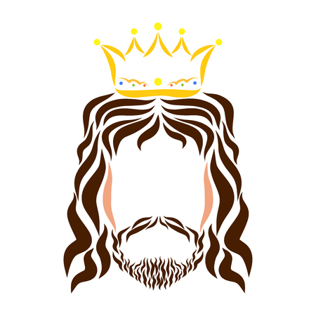 Lord Jesus in the crown, colorful sketch, silhouette