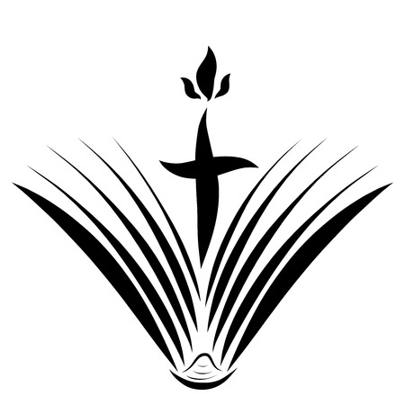 Opening book and cross with flame, symbolism