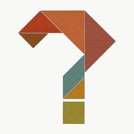 Question mark, laid out from pieces of puzzle tangram