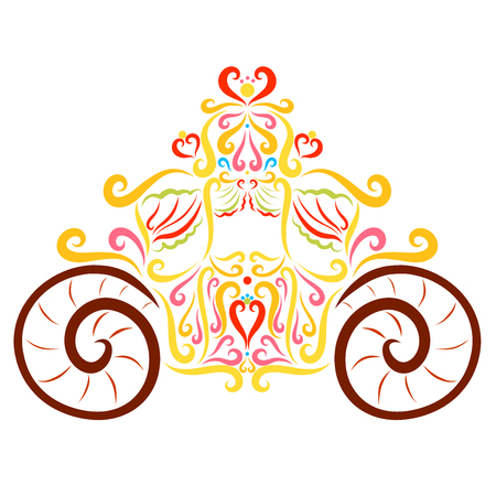 Beautiful carriage with a pattern and hearts