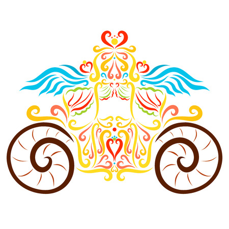 Beautiful colorful carriage with wings