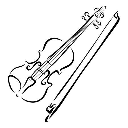 Violine und Bogen, elegante schwarze Linien Standard-Bild