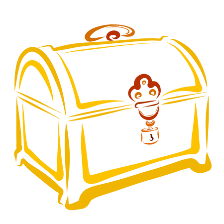 Yellow closed chest, treasures and beauty