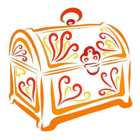Orangefarbene Schatulle mit buntem Muster, Schmucktruhe Standard-Bild