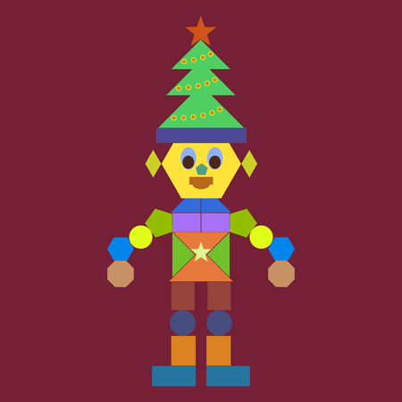 A funny Christmas robot on a claret background