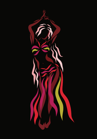 Woman wriggles in a beautiful dance, sketch on a black background