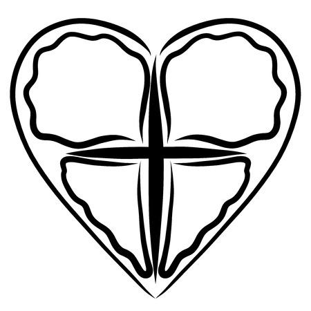 Croix et coeur, image abstraite de papillon, symbole de la vie