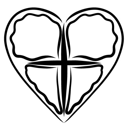 Cross and heart, abstract butterfly image, symbol of life