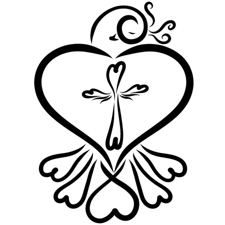 Bird with hearts and a cross of hearts, spiritual life Standard-Bild
