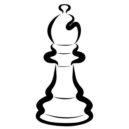 Black chess piece, bishop, intellectual game, pattern Stock Photo