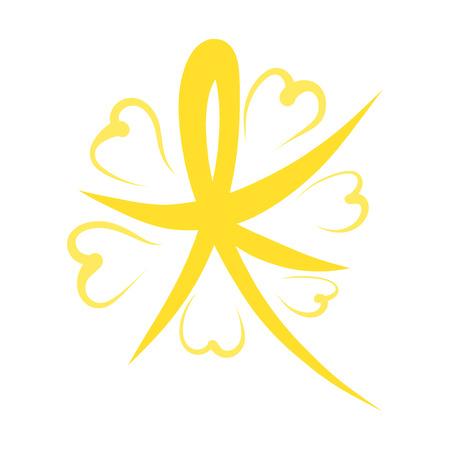 Shining yellow star with hearts, pattern, christmas Banco de Imagens