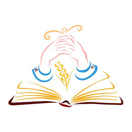 An open book, a wheat spike, praying hands and a bird flying up Standard-Bild
