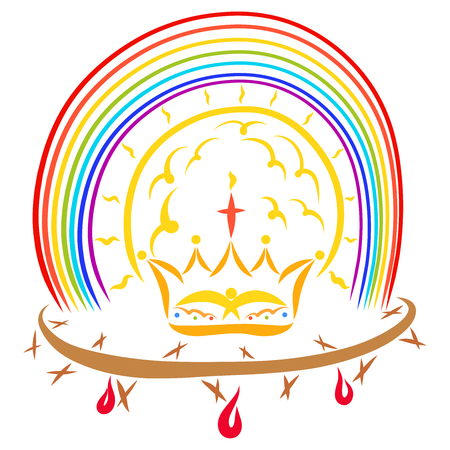 Victory of Jesus Christ, crown of thorns and crown under the shining sun and rainbow