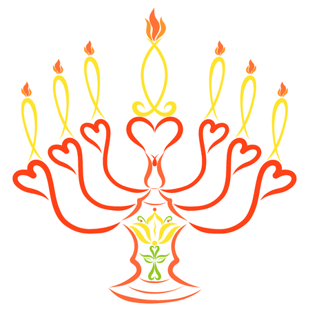 Seven symbolic candles on a candlestick with a lily and a cross