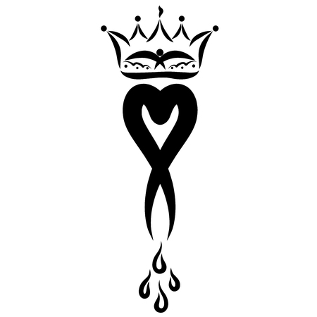 Graceful heart with drops, like an exclamation mark, a crown with a bird