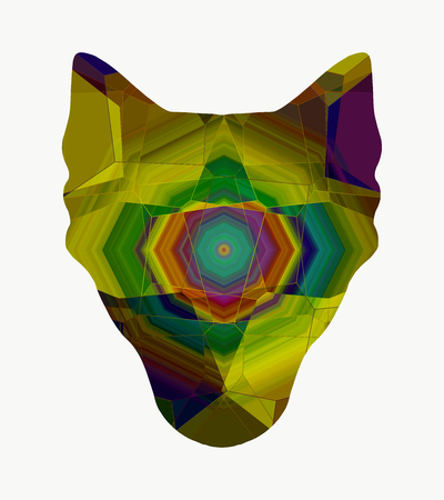 Silhouette of wolf head with abstract pattern