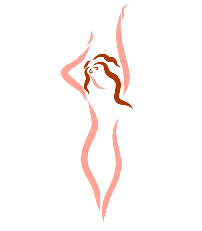Schlanke Frau, Abstraktion, kreatives Logo