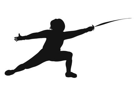 Black fencing silhouette in action Stock Photo - 121713047