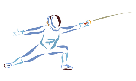 Fencer with sword, sporting battle