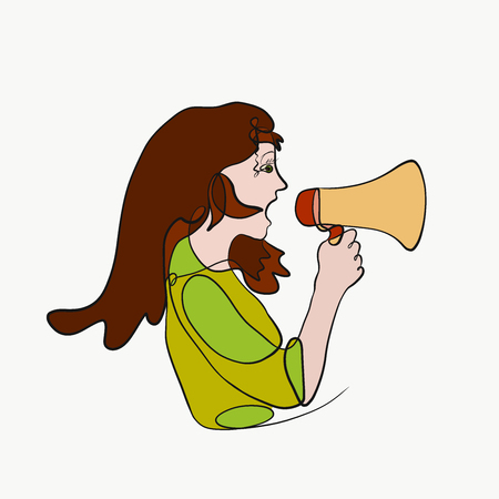 A girl with a loudspeaker in her hand, a creative image of one long line Stock Photo