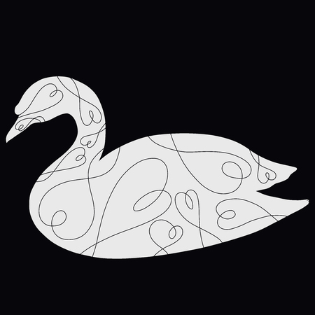 White silhouette of a swan with a pattern of hearts on a black background 스톡 콘텐츠