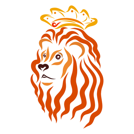 The kingly lion in the crown, the head of a strong animal, pattern Stock Photo