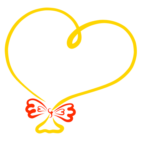 Yellow balloon in the shape of heart with a red bow, frame