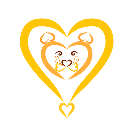 yellow lion head in the shape of a heart, decor