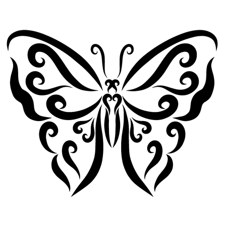 Butterfly with a pattern, smooth lines and curls