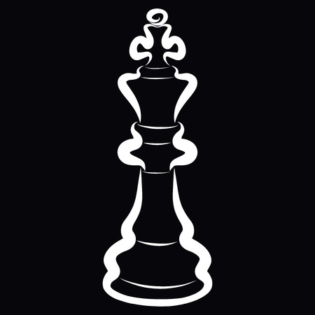 King, white chess piece on a black background Banque d'images