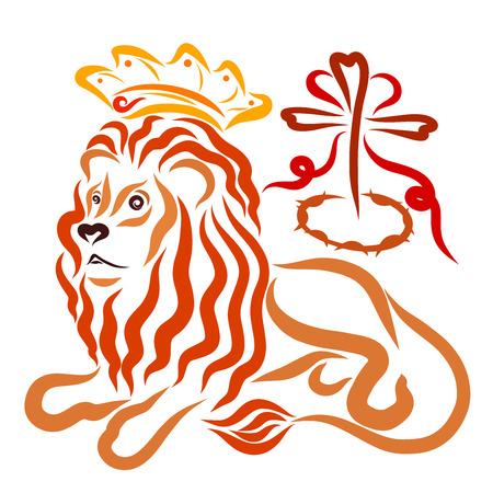 The lion in the crown, the Christian salvation, the cross, the crown of thorns and the heart Standard-Bild - 121782607
