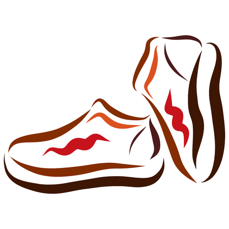 Childrens sports or autumn shoes, flowing colorful lines