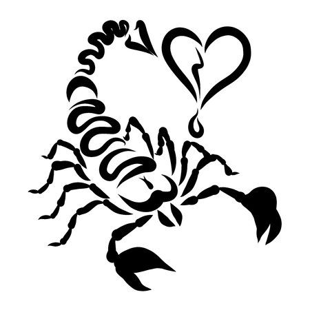 Scorpio with an arrow on the tail and a broken heart, creative pattern