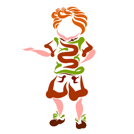 Funny little boy with curly hair, creative pattern Banco de Imagens