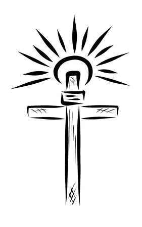 The shining sun above the biblical cross