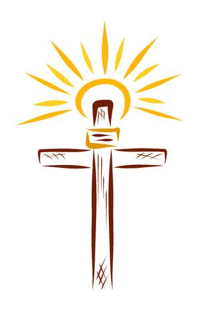 Das Kreuz Jesu und die strahlende Sonne