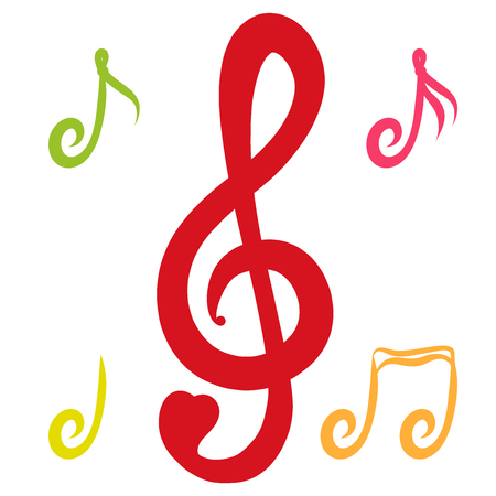 Red treble clef with heart surrounded by colored notes