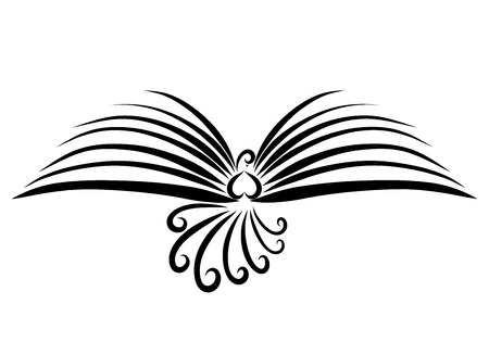 Flying bird with wings like an open book, black lines Banque d'images