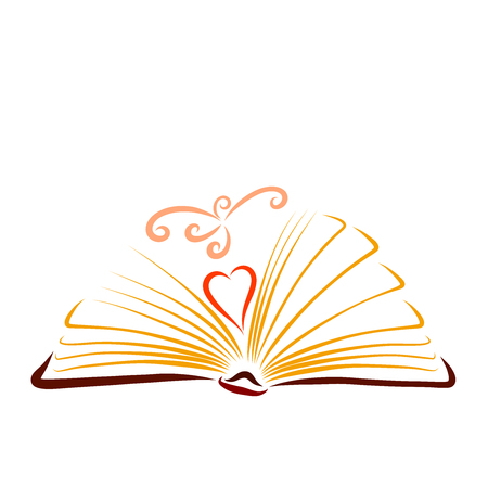 Opening book with a heart and flying graceful bird
