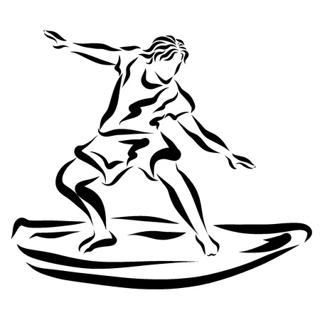 Young man on surfboard, sport 스톡 콘텐츠