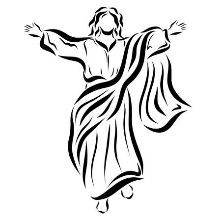 Jesús asciende al cielo y bendice a la gente