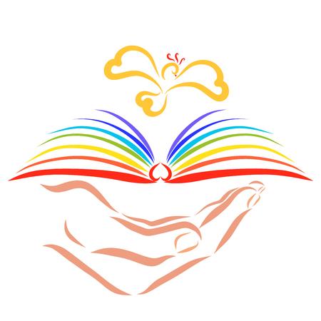 Dłoń trzymająca książkę z tęczowymi stronami, nad którymi leci ptak
