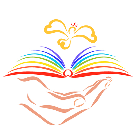 Hand holding a book with rainbow pages over which a bird flies