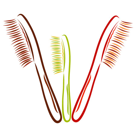 Three toothbrushes or combs for the family, a sketch