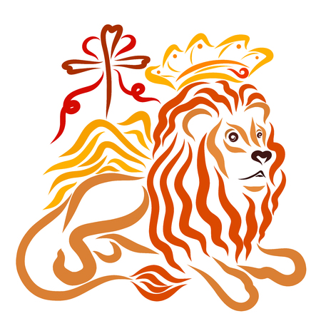 Regal winged lion in a crown and a cross with a heart