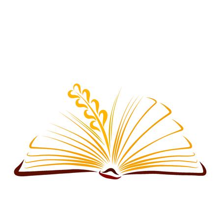 Spiga di grano maturo tra le pagine soleggiate di un libro aperto