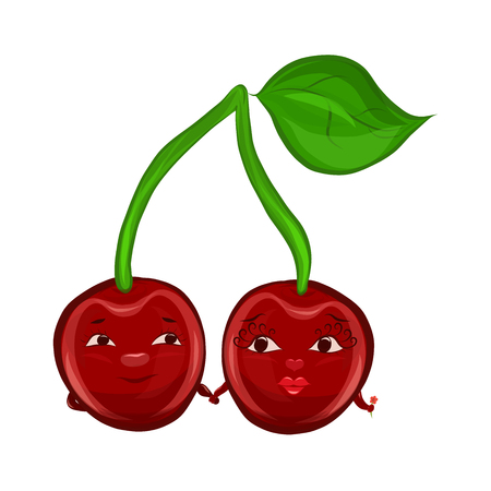 Romantic cherries with human faces, holding hands