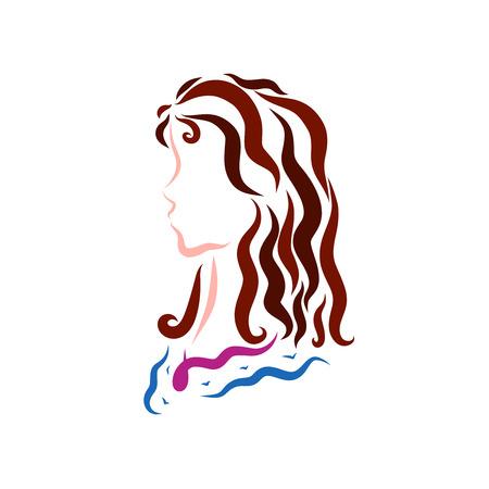 beautiful young girl with long wavy hair