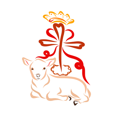 Jesus Christ, the humble Lamb and a cross with a crown of thorns, a crown and a heart Stock Photo